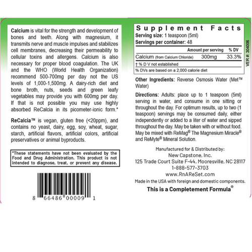ReCalcia - Solution de calcium | Calcium liquide Pico-ion du Dr Dean - 240 ml